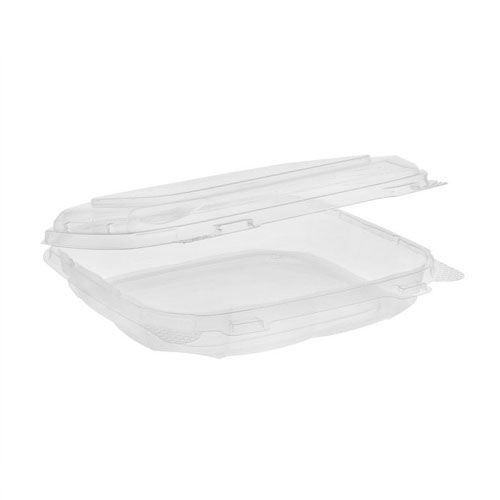 "EarthChoice rPET Clear Clamshell Hinged Container - 8"" x 8"" x 2"" - 0CASH12200000"