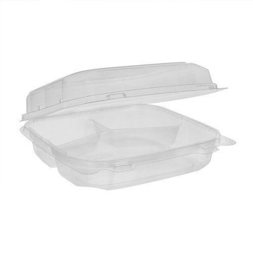 "EarthChoice rPET Clear Clamshell Hinged 3 Compartment Container - 8"" x 8"" x 3"" - 0CASH11230000"