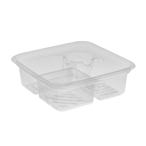"EarthChoice rPET Clear Square 3 Compartment Dip Cup Container - 32 oz - 6"" - Y6SD17DP3CJ"