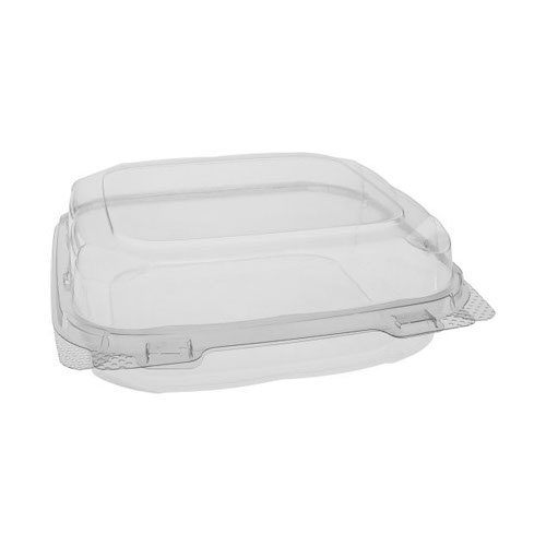 "EarthChoice rPET Clear Clamshell Hinged Container - 8"" x 8"" x 3"" - 0CASH11200000"