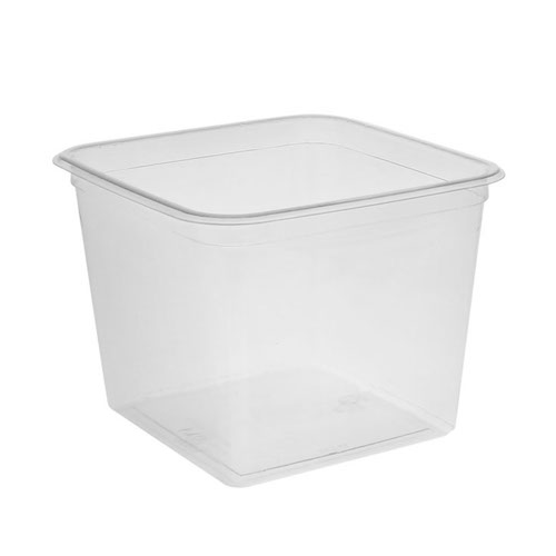 "EarthChoice rPET Clear Square Container - 60 oz - 6"" - Y6S60"