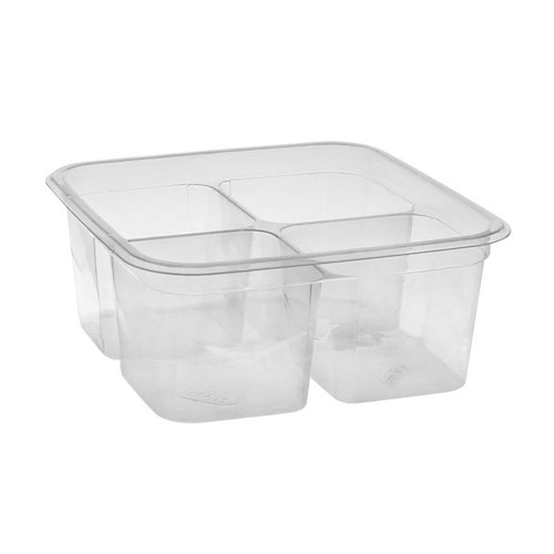"EarthChoice rPET Clear Square 4 Compartment Container - 32 oz - 6"" - Y6S324C"