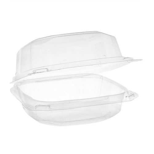 "EarthChoice rPET Clear Clamshell Hinged Container - 6"" x 6"" x 3"" - YCASH11600000"