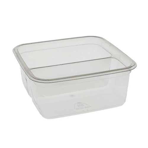 "EarthChoice rPET Clear Square 2 Compartment Container - 32 oz - 6"" - Y6S322C"