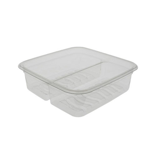 "EarthChoice rPET Clear Square 3 Compartment Juice Trap Container - 17 oz - 6"" - 6S172CJY"