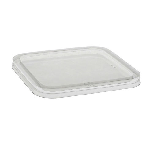 "EarthChoice rPET Clear Flat Lid for Square Container - 6"" - 6SFLY"