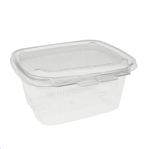 """EarthChoice rPET Clear Clamshell Hinged Tamper Resistant Deli Container - 16 oz - 5"""" x 5"""" - Y5X6H16TR"""