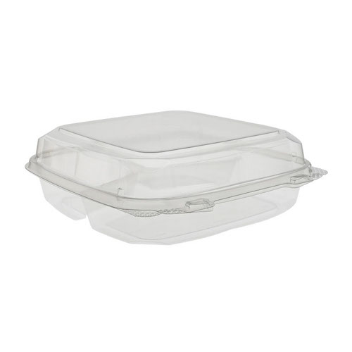 "EarthChoice rPET Clear Clamshell Hinged 3 Compartment Container - 9"" x 9"" x 3"" - 0CASH11130000"