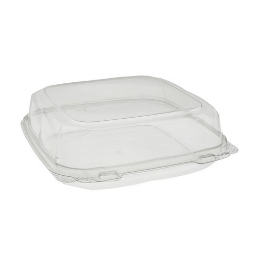 "EarthChoice rPET Clear Clamshell Hinged Container - 9"" x 9"" x 3"" - 0CASH11100000"