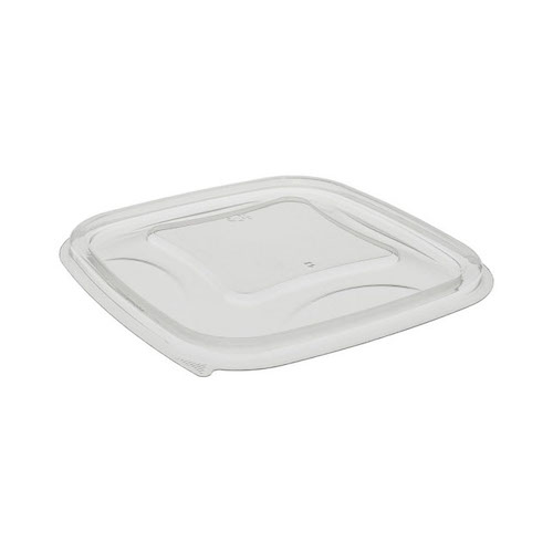 "EarthChoice rPET Clear Flat Lid for Square Bowl - 8-16 oz - 5"" - YSACLF05"