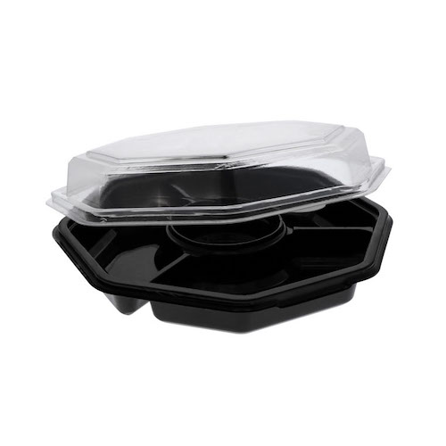 EarthChoice rPET Black Octagon Hinged Lid 4 Compartment Container - 32 oz - 13173
