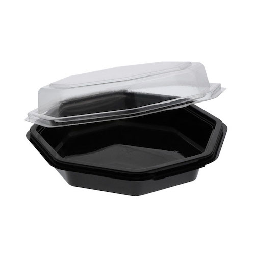 EarthChoice rPET Black Octagon Hinged Lid Container - 22 oz - 12094