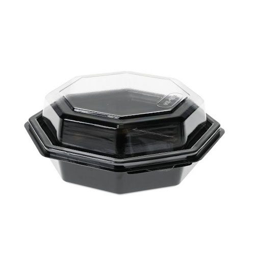 EarthChoice rPET Black Octagon Hinged Lid Container - 16 oz - 12096