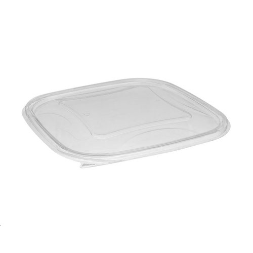 "EarthChoice rPET Clear Flat Lid for Square Bowl - 48-64 oz - 9"" - SACLF09"