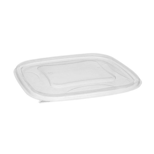 "EarthChoice rPET Clear Flat Lid for Square Bowl - 24-32 oz - 7"" - SACLF07"