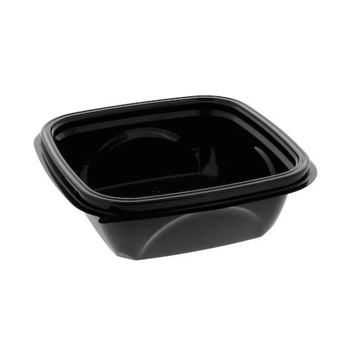 "EarthChoice rPET Black Square Bowl - 12 oz - 5"" - SAB0512"