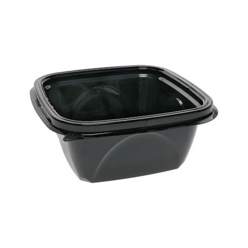 "EarthChoice rPET Black Square Bowl - 16 oz - 5"" - SAB0516"