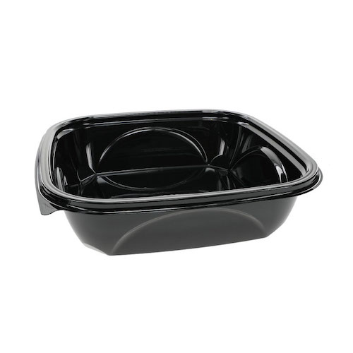"EarthChoice rPET Black Square Bowl - 48 oz - 9"" - SAB0948"
