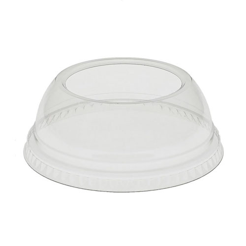 EarthChoice rPET Clear Dome Large Hole Lid for Cold Cup - 9,12-14,16,20 oz - YPDL20CLH