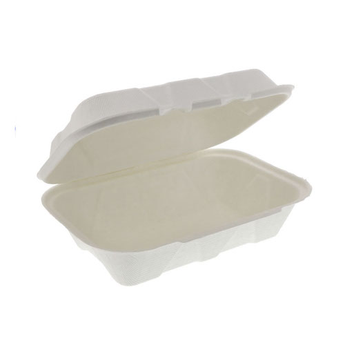 "EarthChoice Fiber Blend Clamshell Hinged Container - 9"" x 6"" x 3"" - YMFH00890000"