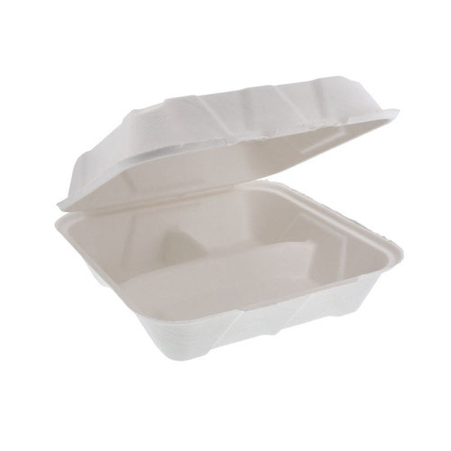 "EarthChoice Fiber Blend Clamshell Hinged 3 Compartment Container - 9"" x 9"" x 3"" - YMCH09030001"