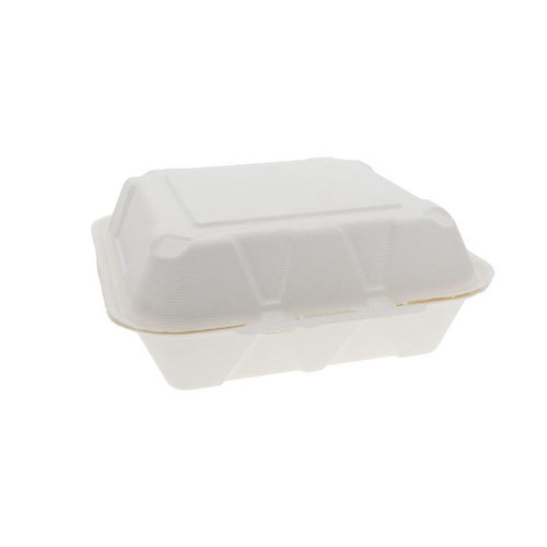 "EarthChoice Fiber Blend Clamshell Hinged Container - 9"" x 9"" x 3"" - YMCH09010001"