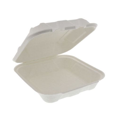 "EarthChoice Fiber Blend Clamshell Hinged Container - 8"" x 8"" x 3"" - YMFH08010000"
