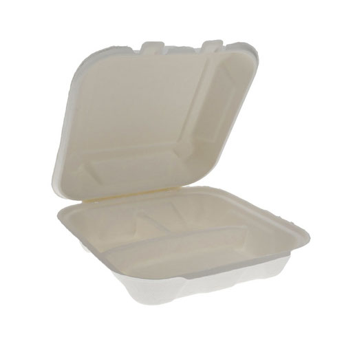 "EarthChoice Fiber Blend Clamshell Hinged 3 Compartment Container - 8"" x 8"" x 3"" - YMCH08030001"
