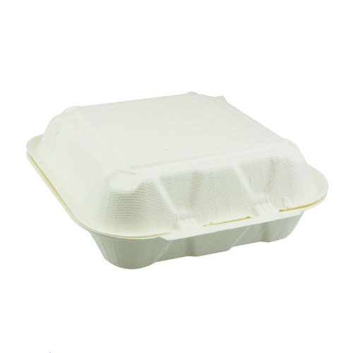 "EarthChoice Fiber Blend Clamshell Hinged 3 Compartment Container - 8"" x 8"" x 3"" - YMFH08030000"