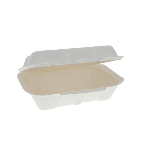 "EarthChoice Fiber Blend Clamshell Hinged Container - 9"" x 6"" x 3"" - YMCH00890001"