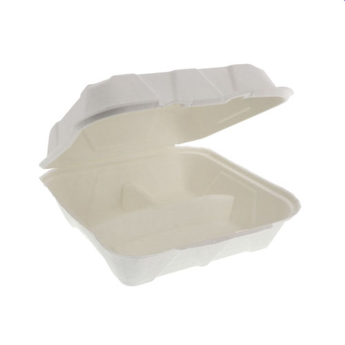 "EarthChoice Fiber Blend Clamshell Hinged 3 Compartment Container - 9"" x 9"" x 3"" - YMFH09030000"