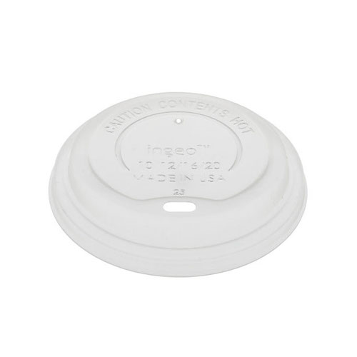EarthChoice CPLA White Flat Lid for Hot Cup - 12-20 oz - LCPLA16