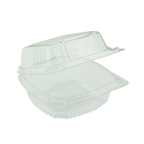 "EarthChoice PLA Clear Clamshell Hinged Container - 6"" x 6"" x 3"" - YLI811600000"
