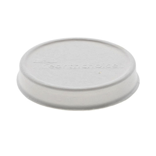 EarthChoice Fiber Blend White Flat Lid for Soup Cup - 8-16 oz - LMC81216EC