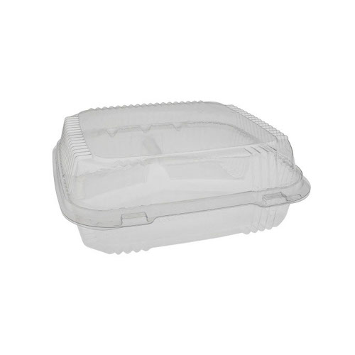 "EarthChoice PLA Clear Clamshell Hinged 3 Compartment Container - 8"" x 8"" x 3"" - YLI81123"