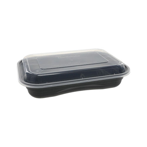 "EarthChoice PP Black Rectangular Lid Microwavable Container - 27 oz - 8.4"" x 5.6"" - NV2GRT2786B"