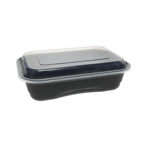 "EarthChoice PP Black Rectangular Lid Microwavable Container - 36 oz - 8.4"" x 5.6"" - NV2GRT3688B"