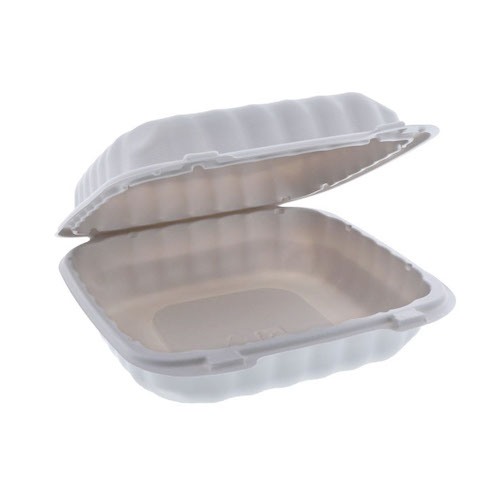 "EarthChoice MFPP White Clamshell Hinged Microwavable Container - 8"" x 8"" x 3"" - YCN808010000"
