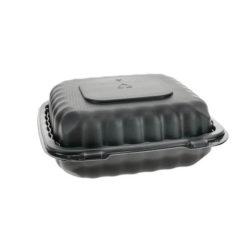 "EarthChoice MFPP Black Clamshell Hinged Microwavable Container - 8"" x 8"" x 3"" - YCNB08010000"