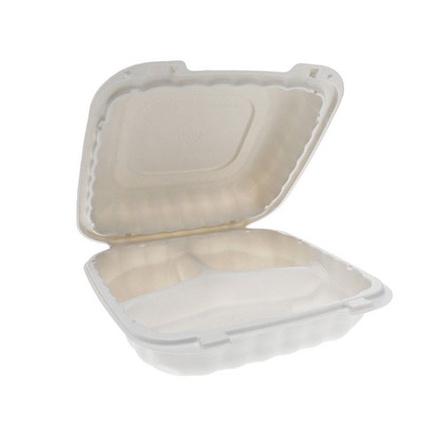 "EarthChoice MFPP White Clamshell Hinged Microwavable 3 Compartment Container - 8"" x 8"" x 3"" - YCN808030000"