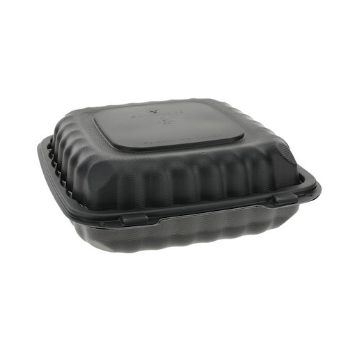 "EarthChoice MFPP Black Clamshell Hinged Microwavable Container - 9"" x 9"" x 3"" - YCNB09010000"