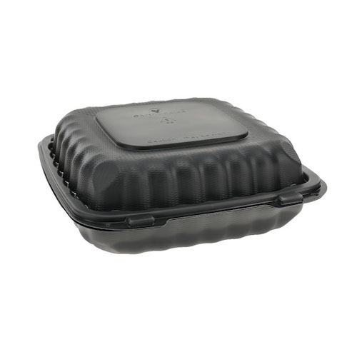 "EarthChoice MFPP Black Clamshell Hinged Microwavable 3 Compartment Container - 9"" x 9"" x 3"" - YCNB09030000"