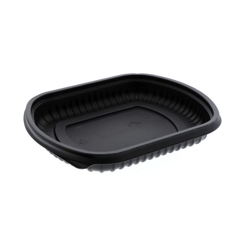 "EarthChoice MFPP Black Rectangular Microwavable Container - 16 oz - 8"" x 6.5"" x 1"" - 0CN846160000"