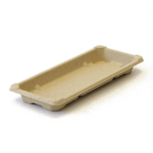 "BeGreen Fiber Sushi Tray - 8.3"" x 3.5"" - BG-ST-2 - 1,000/Case"