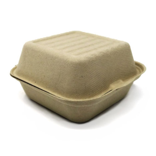 "BeGreen Fiber Clamshell Burger Container - 6"" x 6"" x 3"" - BG-6CS1 - 1,000/Case"