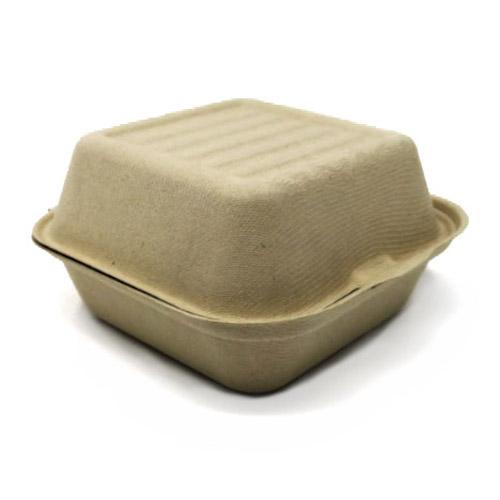 """BeGreen Fiber Clamshell Burger Container - 6"""" x 6"""" x 3"""" - BG-6CS1 - 1,000/Case"""