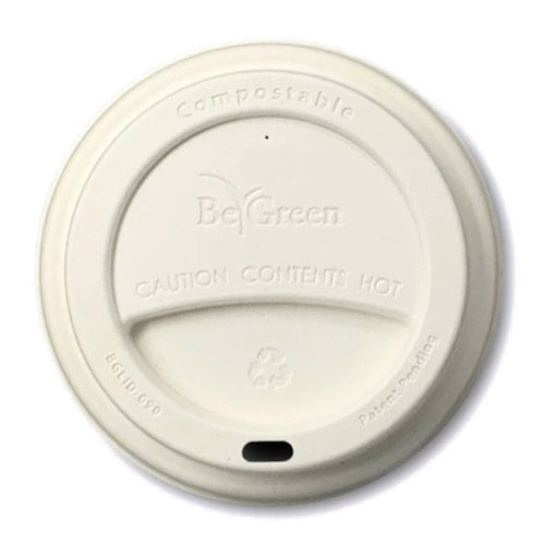 BeGreen Fiber White Flat Lids for Coffee Cups - 12-16 oz - BG-LID-090-W - 1,000/Case