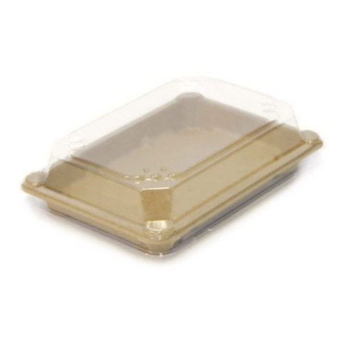 "BeGreen PET Clear Dome Lid for Sushi Tray - 7.3"" x 5.3"" - BG-ST-4-L - 800/Case"
