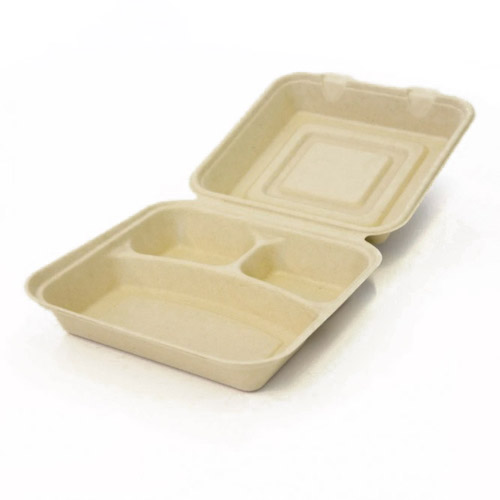 "BeGreen Fiber Clamshell Hinged Container 3 Compartment - 8"" x 8"" x 3"" - BG-8CS3 - 300/Case"