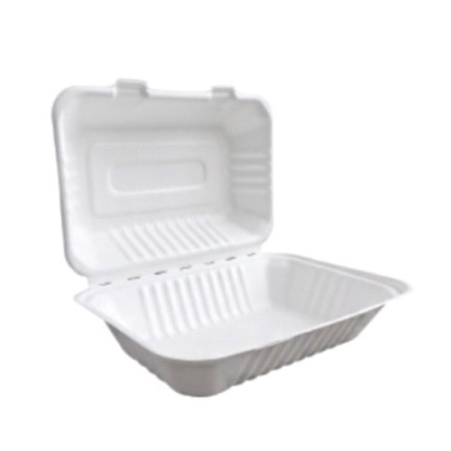 "BetterEarth Sugarcane White Clamshell Hinged Container - 9"" x 6"" - BE-FC96"
